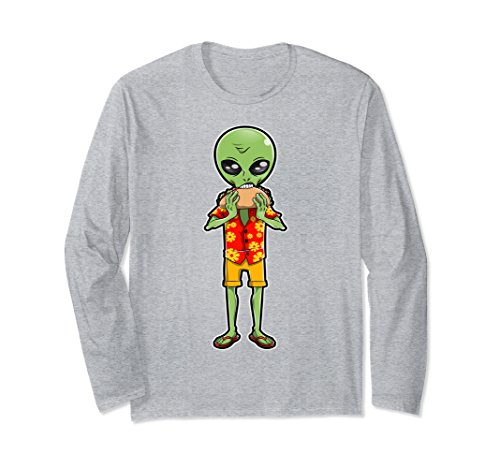 Unisex Alien Eating Taco T shirt UFO Men Women Outer Space Tee Gift Medium Heather (Outer Space Costume Women)