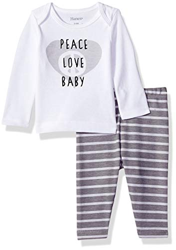 Hanes Ultimate Baby Flexy 2 Piece Set (Pant with Long Sleeve Crew Tee), Grey Fun, 18-24 Months ()