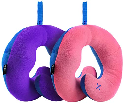 BCOZZY Kids Chin Supporting Travel Pillow - Keeps Your Child's Head from Bobbing up and Down in car Rides, Providing Comfort and Support for The Neck and Head. Child Size, Set of 2 (Pink + Purple) (Trunki Accessories)