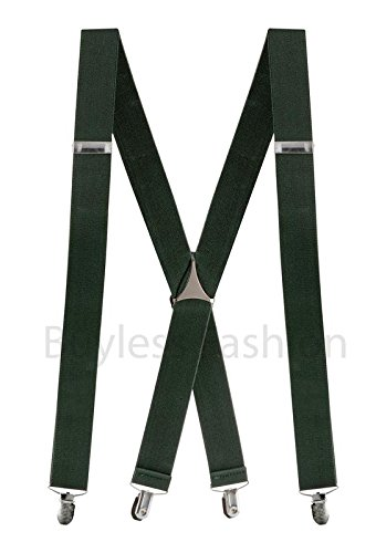 "Buyless Fashion Mens 48'' Elastic Adjustable 1 1/4"" Suspenders In X Shape"