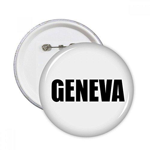 Geneva Buttons - Geneva Switzerland City Name Round Pins Badge Button Clothing Decoration 5pcs Gift