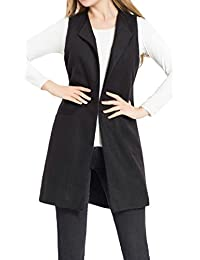 Pivaconis Womens Open Front Sleeveless Draped Loose Fit Wool Blended Waistcoat Vest