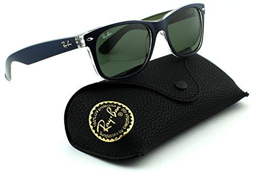 Ray-Ban RB2132 New Wayfarer Square Unisex Sunglasses (Matte Blue Military Green Frame/Green Lens 6188, - Sunglasses Military Ban Ray