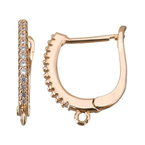- 2pcs Rose Gold Plated Micro Pave Cubic Zirconia Metal Lever Back Earrings Hoops Component Leverback Blank Base Jewelry Findings 19mm x 15mm