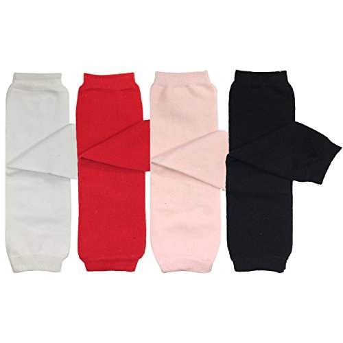 ALLYDREW 4 Pack Baby Leg Warmer Set & Toddler Leg Warmer Set for Boys & Girls - Solid White, Red, Pink, Black,One Size