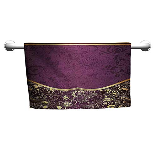 Eastern,Oriental and Abstract Swirly Floral Frame Artistic Vintage,Antique Fuchsia Pale Yellow Plum,Velcro Towel wrap for Women Duck Jacquard Bath Towel