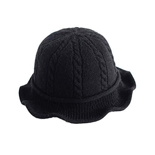 Vpang Winter Knitted Wool Hat Women Bucket Hat Foldable Bow Warm Soft Cloche Cap (Black) - Knit Bucket Hat