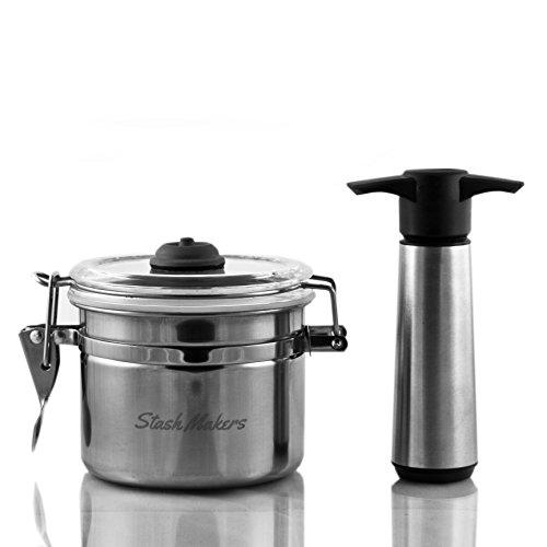 Vacuum Sealed Stash Jar with Hand Pump, Airtight, Smell-P...