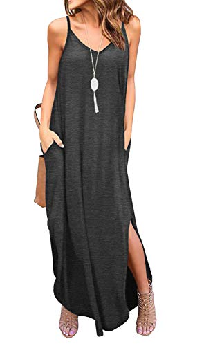 - GRECERELLE Women's Summer Casual Loose Dress Beach Cover Up Long Cami Maxi Dresses with Pocket Dark Gray-2XL
