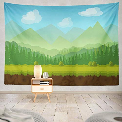 Anymind Country Style Tapestry Wall Hanging,Forest Game Tileable Country Jungle Cartoon Tapestry Home Decoration for Bedroom Dorm 60L x 80W,Forest Game