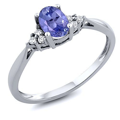 14K White Gold Blue Tanzanite and Diamond Women's Ring 0.51 cttw (Size ()