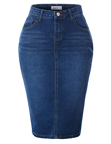 RK RUBY KARAT Womens Stretchy Mid Rise Push Up Cotton Denim Jean Pencil Midi Skirt, Dark, X-Large