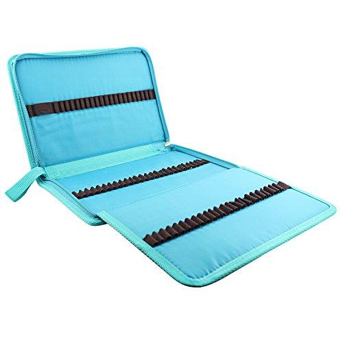 Huhuhero 72-slot Blue Folding Zipper Pencil Pouch/ Pencil...