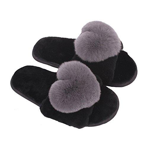 Women Girls Fluffy Slippers Indoor Home Open Toe Soft Slip On Flat Warm Slipper Sandals 80Store Grey Heart Aten3OO