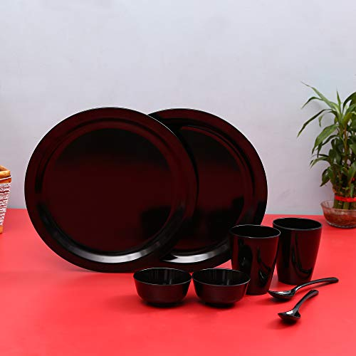 Iveo Melamine Dinner Set, 8-Pieces, Black Price & Reviews