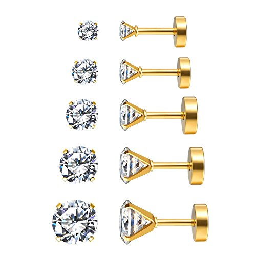 Screw Earrings Back Design (Charisma 16G 5 Pairs Stainless Steel Stud Earrings Mother's Day Gift Piercing Tragus Cubic Zirconia Cartilage Screw Back Helix Earrings For Women, Gold Inlaid, 3mm-7mm (5 Pairs))