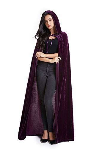 Crizcape Unisex Halloween Costume Cape Hooded Velvet Cloak for Men and Womens Purple