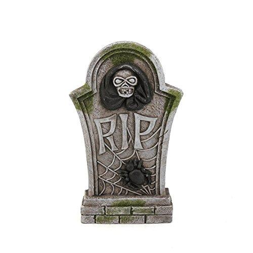 Mossy Spider Rip Skull Tombstone Halloween Decor (Funny Gravestones For Halloween)