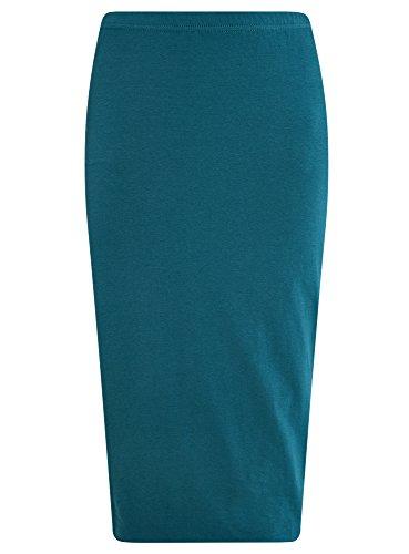 oodji Ultra Femme Jupe Crayon en Maille Turquoise (6c00n)