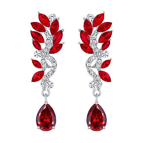 EVER FAITH Women's Austrian Crystal Bohemia Chandelier Teardrop Marquise Dangle Earrings Red Silver-Tone