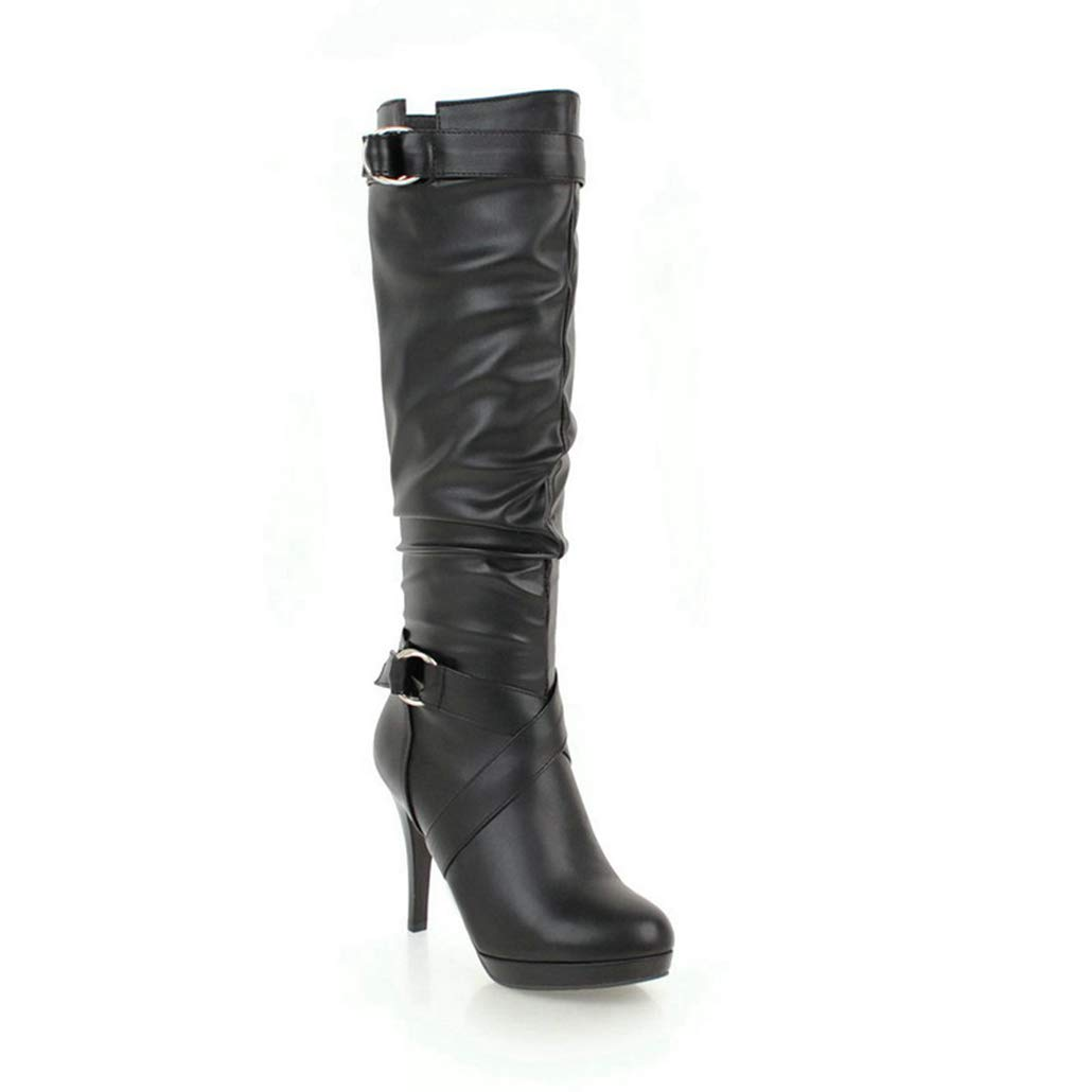 Black High Heels Boots Knee High shoes for Women Thin High Heels Platform Spring Winter Thigh High Boots