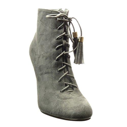 Angkorly - Scarpe da Moda Stivaletti - Scarponcini low boots sexy donna pon pon frange lacci Tacco Stiletto tacco alto 10.5 CM - Grigio