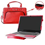 "Yoga 730 13 Case,2 in 1 Accurately Designed Protective PU Cover + Portable Carrying Bag for 13.3"" Lenovo Yoga 730 13 730-13IKB Laptop,Red"
