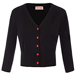 Belle Poque Womens Vintage 50s Cherries Embroidery 3/4 Sleeve Knitting Dress Coat Bolero Shrug Cover up GF609