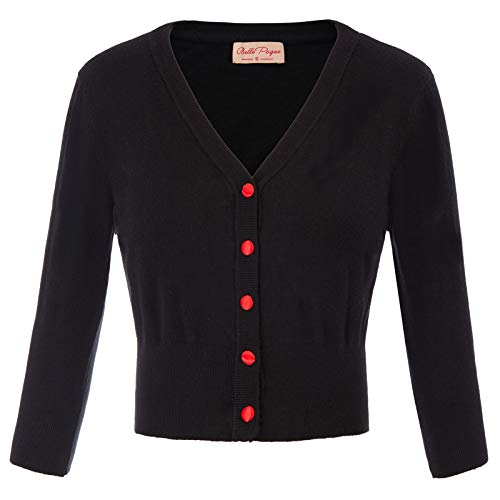 (Women's V-Neck 3/4 Sleeve Cropped Cardigans Knitting Coat Knitwear Black Shrugs for Women Size M BP928-1)