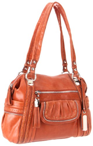 B. MAKOWSKY  Darcy Satchel,Rust,One Size, Bags Central