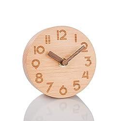 Artinova Wooden Clock, Handmade,Classic Silent Desk Clock for Home/Bedroom/Office ARTA-6039