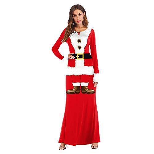 Tsmile Women Dress Fashion Ladies Christmas Santa Claus Gown Cosplay 3D Printed Ball Party Long Dress