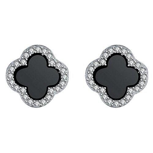 Women & Girls Sweet Princess 4 Leaf Clover Clip on Earrings Non Pierced White Gold Plated