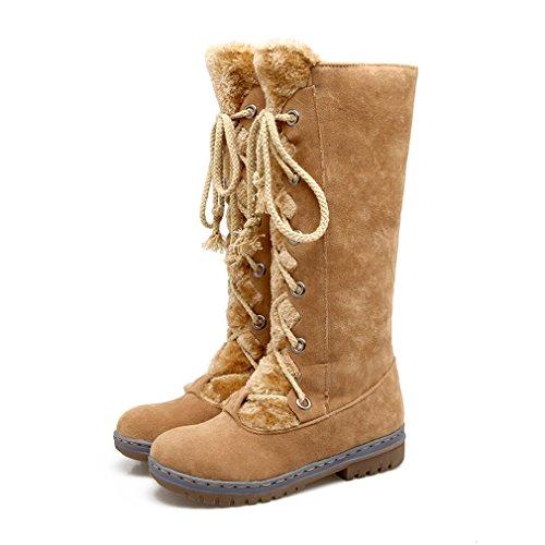 Mfairy Fashion Sweet Dames Lage Hak Mid-calf Snowboots Winterlaarzen Geel