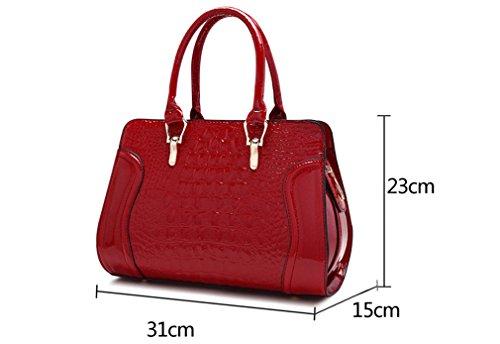 Bag Leather Women Leather Shoulder Bags Handles Burgundy Handbags Ladies Pattern Red Tote Crocodile Wedding CwxU0TqxF