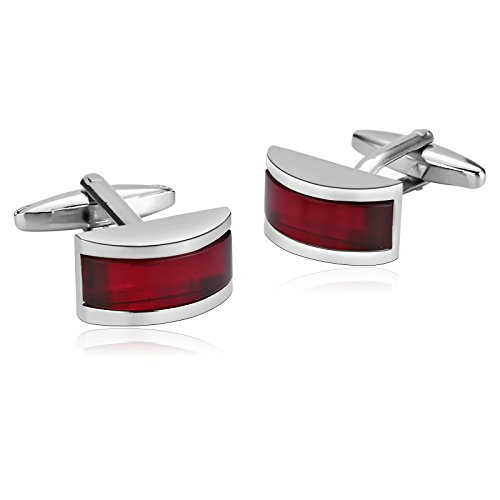 Beydodo Stainless Steel Man French Tuxedo Shirt Cufflinks Silver Red Arch Rectangle Business Gift