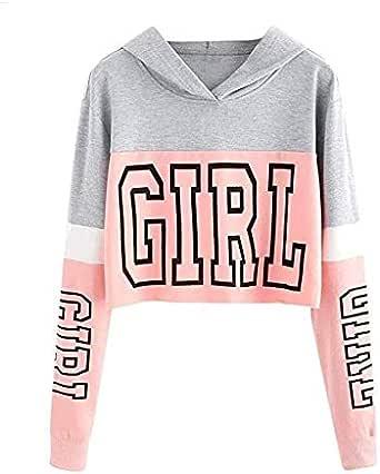 Women's Letter Printed Long Sleeve Hoodie Sweatshirt Hooded Pullover Tops Blouse,XL