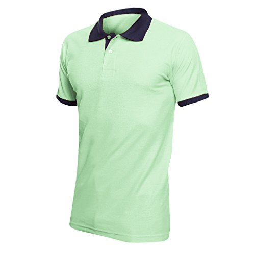 "SOLS Prince Unisex Contrast Pique Short Sleeve Cotton Polo Shirt (L (41-42"" Chest)) (Apple Green/French Navy) (Polo Shirt Womens Golf Tournament)"