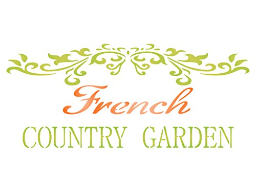 French Country Stencil - 10.5 x 4.5 inch (M) - Reusable Vintage French Garden Word Wall Stencils for Paintingg - Use on Paper Projects Scrapbook Journal Walls Floors Fabric Furniture Glass Wood etc.