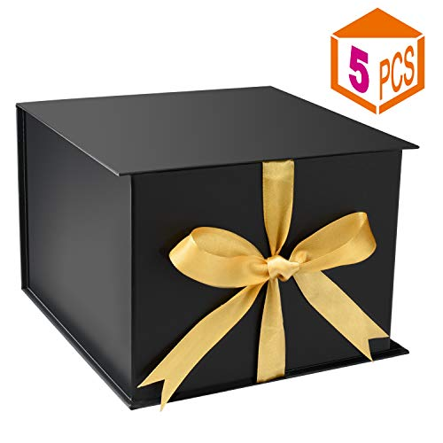 MESHA Gift Box with Lids and Ribbon 7.2x7.2x5 Inches Bridesmaid Gift Box for Christmas Weddings Birthday Black 5pc (Gifts Christmas Bridesmaid)