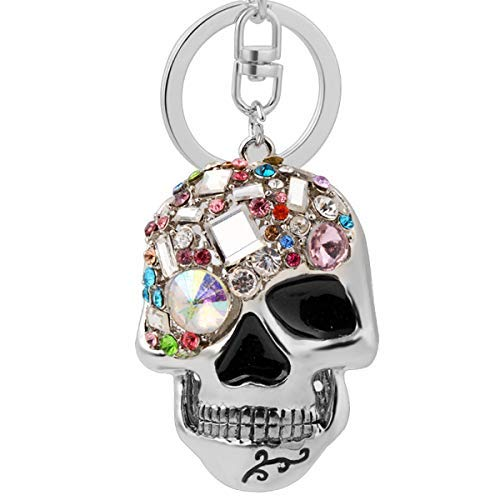 New ArrivalWhite Rhinestone Inlaid Skull Keychain Trendy and Punk Style Key Chain Unisex Gift (Grey FBA)