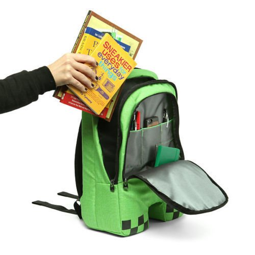 4a6ef69cbc Minecraft School Backpack Rucksack Waterproof Book Creeper Storage Bag  Sports  Amazon.co.uk  Sports   Outdoors