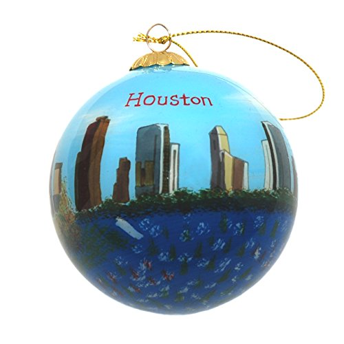 Hand Painted Glass Christmas Ornament - Houston, Texas Skyline