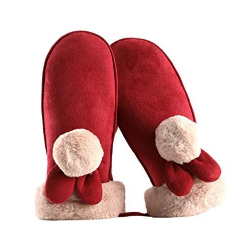 (WELCOMEUNI Women Fleece Mittens Gloves Wool Lined Winter Warm Thick Ski New Outdoor Sport Climbing Gloves)