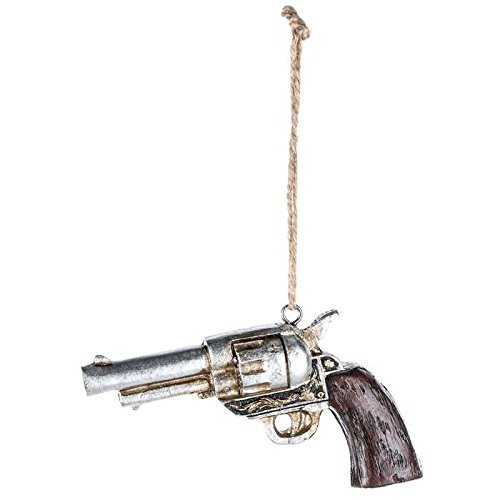 (Scout & Company Revolver Pistol Hand Gun Hanging Ornament | Rustic Resin Country Western Home Decor Gifts for Texas Cowboys)