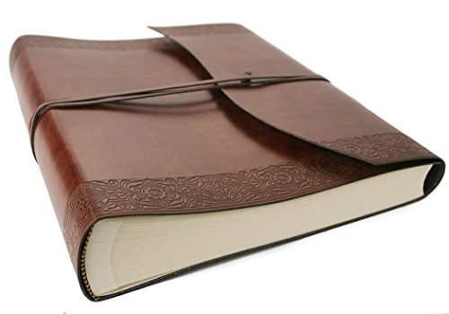 Maya Large Etched Handmade Recycled Leather Wrap Photo Album, Classic Style Pages (30cm x 24cm x (Recycled Leather Photo)