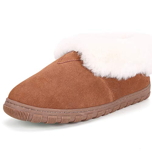 (Pinpochyaw Women Moccasin Shoes, Sheepskin Lining Slippers with Super Soft Cow Suede,(9 B(M) US,Chestnut))