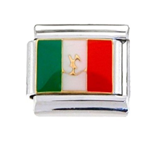 Stylysh Charms MEXICO MEXICAN FLAG Enamel Italian 9mm Link PE049 - Flag Enamel Italian Charm