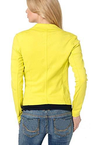 Puro Leisure Slim Lunga Donna Moda Fit Manica Confortevole Cappotto Business Tailleur Giacca Skinny Colore Bavero Suit Autunno Giallo zYg1OnYPW