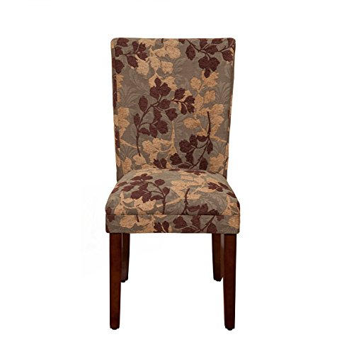 Kinfine USA K1136-F975 Parsons Classic Pattern Dining Chair, Single Pack, Brown Sage Leaf